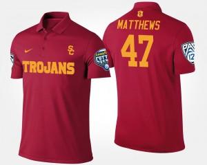 USC Trojans Clay Matthews Polo Pac-12 Conference Cotton Bowl Bowl Game #47 Cardinal For Men's