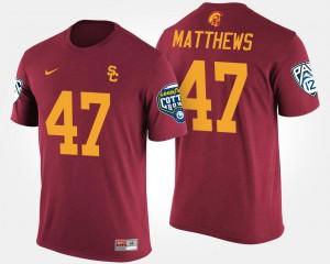 USC Trojans Clay Matthews T-Shirt Cardinal #47 Bowl Game Pac-12 Conference Cotton Bowl For Men