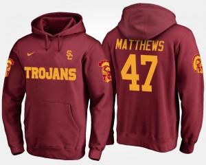 USC Trojans Clay Matthews Hoodie Mens #47 Cardinal