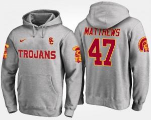 USC Trojans Clay Matthews Hoodie #47 Gray For Men