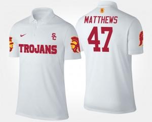 USC Trojans Clay Matthews Polo For Men's White #47