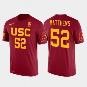 USC Trojans Clay Matthews T-Shirt Red For Men's Green Bay Packers Football #52 Future Stars