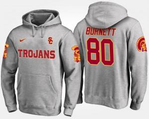 USC Trojans Deontay Burnett Hoodie #80 For Men Gray