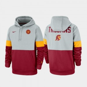 USC Trojans Hoodie Men's Gray Cardinal Therma Performance Pullover Rivalry