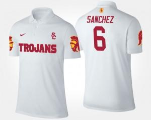 USC Trojans Mark Sanchez Polo #6 Men's White