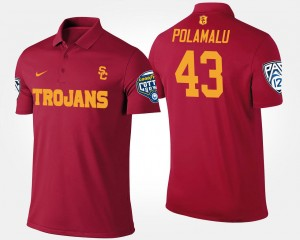USC Trojans Troy Polamalu Polo Bowl Game #43 For Men Pac-12 Conference Cotton Bowl Cardinal