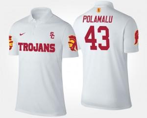 USC Trojans Troy Polamalu Polo For Men's #43 White