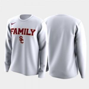 USC Trojans T-Shirt Family on Court White For Men March Madness Legend Basketball Long Sleeve