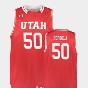 Utah Utes Christian Popoola Jersey Replica #50 Red College Basketball Men's