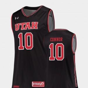 Utah Utes Jake Connor Jersey Black #10 Men's College Basketball Replica