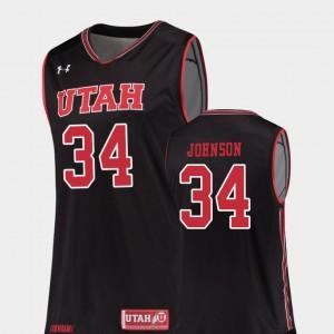 Utah Utes Jayce Johnson Jersey For Men College Basketball Replica Black #34