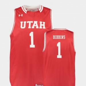 Utah Utes Justin Bibbins Jersey #1 Red For Men College Basketball Replica