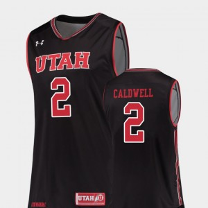 Utah Utes Kolbe Caldwell Jersey Replica Black #2 For Men's College Basketball