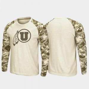 Utah Utes T-Shirt OHT Military Appreciation Raglan Long Sleeve For Men's Oatmeal