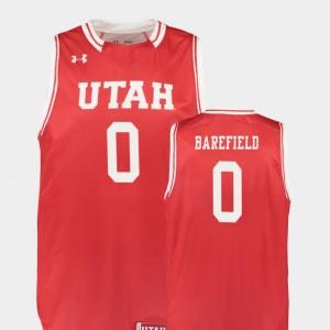 Utah Utes Sedrick Barefield Jersey Replica For Men's #0 College Basketball Red