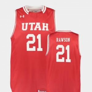 Utah Utes Tyler Rawson Jersey #21 Men's College Basketball Red Replica