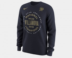 Villanova Wildcats T-Shirt For Men Basketball National Champions 2018 Celebration Long Sleeve Navy