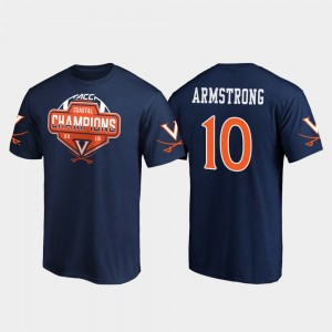 Virginia Cavaliers Brennan Armstrong T-Shirt Navy #10 Men 2019 ACC Coastal Football Division Champions