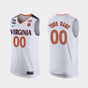 Virginia Cavaliers Customized Jersey Men's White #00 2019 Final-Four