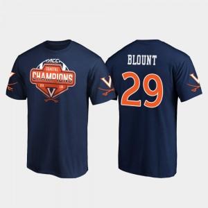 Virginia Cavaliers Joey Blount T-Shirt #29 2019 ACC Coastal Football Division Champions Navy For Men