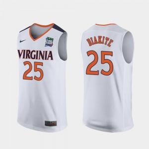 Virginia Cavaliers Mamadi Diakite Jersey #25 2019 Final-Four White For Men's Replica