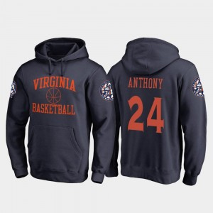 Virginia Cavaliers Marco Anthony Hoodie College Basketball For Men Navy #24 In Bounds