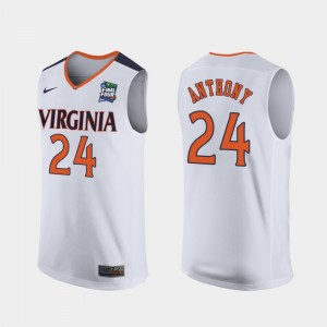 Virginia Cavaliers Marco Anthony Jersey Replica #24 2019 Final-Four White For Men's