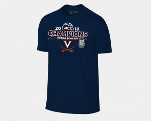 Virginia Cavaliers T-Shirt For Men 2018 ACC Champions Locker Room Navy Basketball Conference Tournament