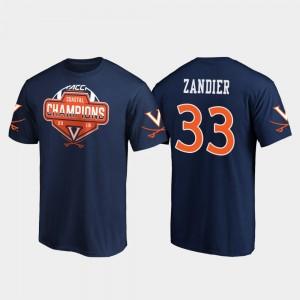 Virginia Cavaliers Zane Zandier T-Shirt Men's 2019 ACC Coastal Football Division Champions Navy #33