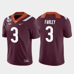 Virginia Tech Hokies Caleb Farley Jersey Game College Football For Men's Maroon #3