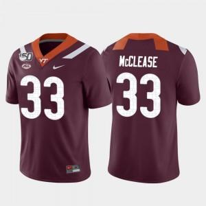Virginia Tech Hokies Deshawn McClease Jersey College Football Maroon #33 Men Game