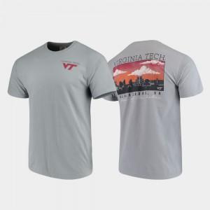 Virginia Tech Hokies T-Shirt Comfort Colors Gray Campus Scenery Men's
