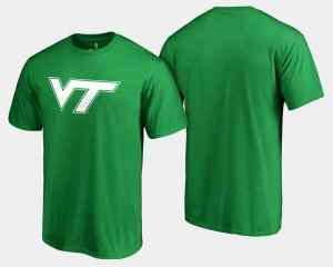 Virginia Tech Hokies T-Shirt St. Patrick's Day White Logo Big & Tall Kelly Green For Men's