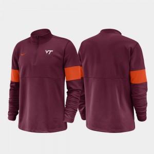 Virginia Tech Hokies Jacket 2019 Coaches Sideline For Men's Half-Zip Performance Maroon
