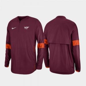 Virginia Tech Hokies Jacket Maroon Quarter-Zip 2019 Coaches Sideline For Men's