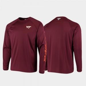 Virginia Tech Hokies T-Shirt PFG Terminal Tackle Long Sleeve Omni-Shade Men Maroon