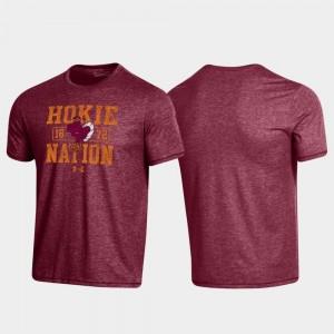 Virginia Tech Hokies T-Shirt Men Bi-Blend Property Of Stack Maroon