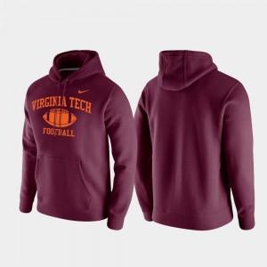 Virginia Tech Hokies Hoodie For Men's Maroon Retro Football Club Fleece