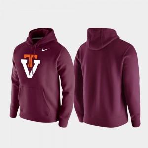 Virginia Tech Hokies Hoodie Maroon Men Vintage Logo Club Fleece