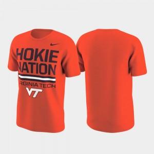 Virginia Tech Hokies T-Shirt Orange Performance Local Verbiage Mens