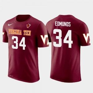 Virginia Tech Hokies Terrell Edmunds T-Shirt Crimson Mens #34 Future Stars Pittsburgh Steelers Football
