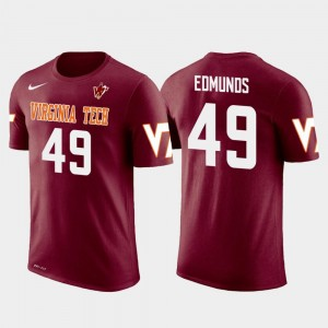 Virginia Tech Hokies Tremaine Edmunds T-Shirt Future Stars Crimson Buffalo Bills Football Men's #49