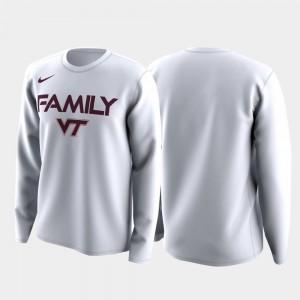 Virginia Tech Hokies T-Shirt Family on Court White Men March Madness Legend Basketball Long Sleeve
