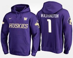 Washington Huskies Hoodie #1 No.1 Men Purple