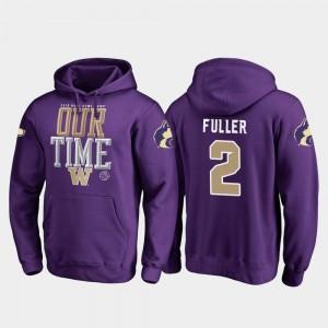 Washington Huskies Aaron Fuller Hoodie For Men's 2019 Rose Bowl Bound Counter Purple #2