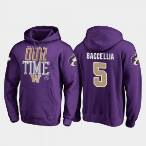 Washington Huskies Andre Baccellia Hoodie Counter Purple For Men's #5 2019 Rose Bowl Bound