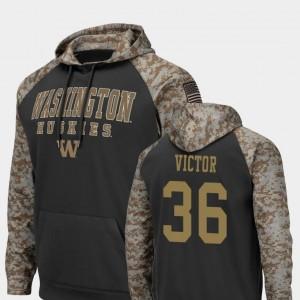 Washington Huskies Azeem Victor Hoodie United We Stand #36 Charcoal Men Colosseum Football
