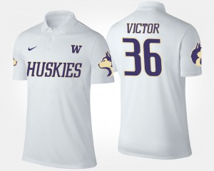 Washington Huskies Azeem Victor Polo Mens #36 White