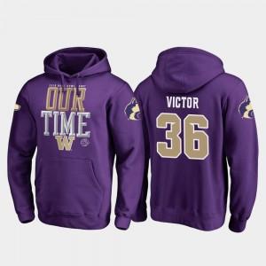 Washington Huskies Azeem Victor Hoodie #36 Men's Counter 2019 Rose Bowl Bound Purple