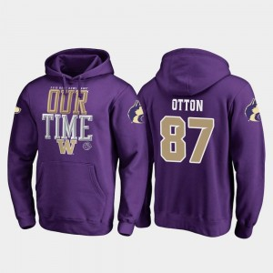 Washington Huskies Cade Otton Hoodie Counter For Men Purple #87 2019 Rose Bowl Bound